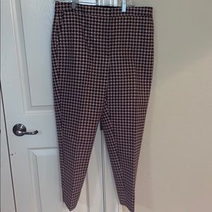 Size 12 Ann Taylor navy and pink houndstooth pants